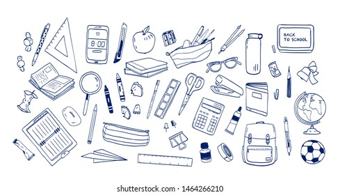 Bundle of school supplies or stationery hand drawn with contour lines on white background. Set of drawings of accessories for lessons, items for education. Monochrome realistic illustration