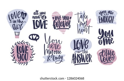 Bundle of trendy Valentine's day lettering handwritten with elegant cursive font. Romantic phrases, quotes decorated by hearts isolated on white background. Colorful modern illustration