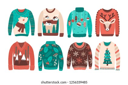 Bundle of ugly Christmas sweaters or jumpers isolated on white background. Set of seasonal knitted warm winter clothing with weird prints. Colorful illustration in flat cartoon style.
