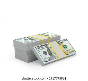 Bundles of dollar bills stacked on white. 3d illustration