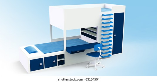 bunk bed with desk and swivel armchair and cabinet and shelf, blue
