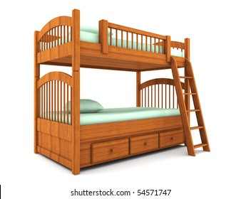bunk bed isolated on white background