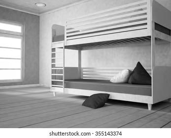 bunk bed near the window, part of the bedroom, 3d rendering