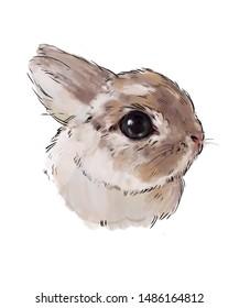 Bunny beige, powdery rabbit , cute children illustration, best print on t-shirt, animal print with peonies. rabbit on a white background, hand drawn cartoon sketch