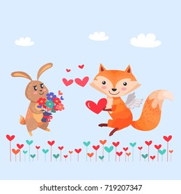 Bunny with bouquet of flowers and fox with angel wings holding red heart in paws on cartoon lawn. Romantic hare wishes you love. Lovely rabbit and sexy vixen with bushy tail. Valentines day