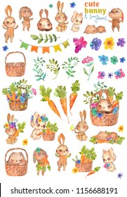 Bunny cute and funny. Watercolor clipart, child, kid, baby-born, babyshower, decoration, scrapbooking, design