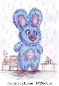 Bunny painted watercolor pencils