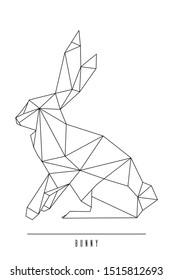 Bunny rabbit geometric animal. Geometric animal print. Triangle polygonal line art. Origami bunny rabbit. Animal symbol.