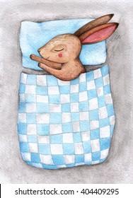 Bunny. Watercolor illustration. Hand drawn