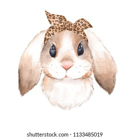 Bunny wearing bandana. Watercolor illustration. Isolated on white background