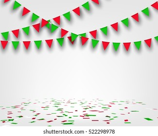 Bunting Christmas flag and confetti on floor with copy space. Concept design for greeting card , banner, poster for new year and Christmas party