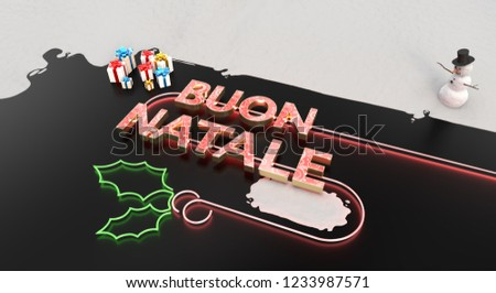 Buon Natale 3d.Buon Natale 3 D Word Presents Snow Stock Illustration 1233987571