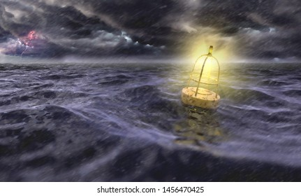 Buoy in the sea during storm and night and high waves (3d rendering)