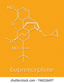 Buprenorphine opioid addiction and pain killer drug molecule. Skeletal formula.
