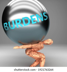 Burdens as a burden and weight on shoulders - symbolized by word Burdens on a steel ball to show negative aspect of Burdens, 3d illustration