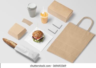 Burger bar corporate identity template design set. Branding mock up