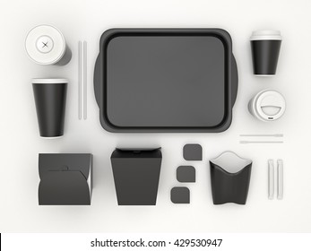 Burger bar set with black blank for design fast food cardboard tableware. Mockup template paper cups coffee. Package wok box french fries, potato, chicken, nuggets. White background 3d illustration.