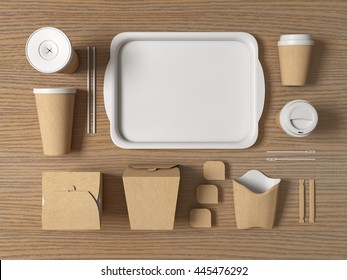 Burger bar set craft paper blank design fast food cardboard tableware. Mockup template kraft cardboard cup coffee. Package wok box french fries potato chicken nugget. Wood background 3d illustration.