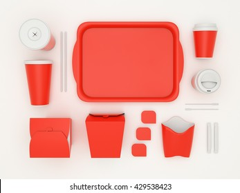 Burger bar set with red blank for design fast food cardboard tableware. Mockup template paper cups coffee. Package wok box french fries, potato, chicken, nuggets. White background 3d illustration.