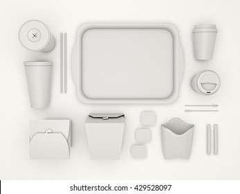 Burger bar set with white blank for design fast food cardboard tableware. Mockup template paper cups coffee. Package wok box french fries, potato, chicken, nuggets. White background 3d illustration.