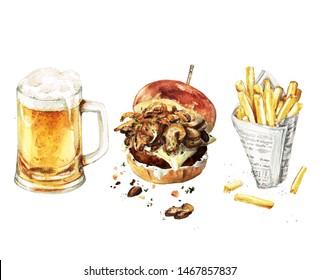 Burger, Beer, Fries combo. Watercolor Illustration