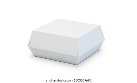 burger box packaging mockup 3d rendering isolated