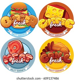 Burger, Cheese Grill and Fresh Meat Labels. Outdoor Advertising Template