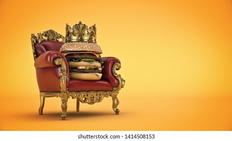 Burger with crown. 3d rendering