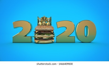 Burger with Crown concept 2020 New Year sign. 3d rendering