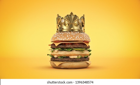 Burger with Crown isolated. 3d rendering