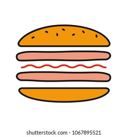 Burger cutaway color icon. Sandwich. Hamburger assembly. Isolated raster illustration