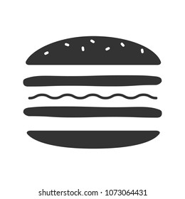 Burger cutaway glyph icon. Silhouette symbol. Negative space. Sandwich. Hamburger assembly. Raster isolated illustration