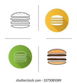Burger cutaway icon. Flat design, linear and color styles. Sandwich. Hamburger assembly. Isolated raster illustrations