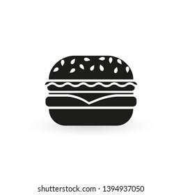 Burger icon. Hamburger black silhouette.