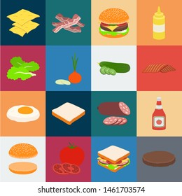 Burger and ingredients cartoon icons in set collection for design. Burger cooking bitmap symbol stock web illustration.