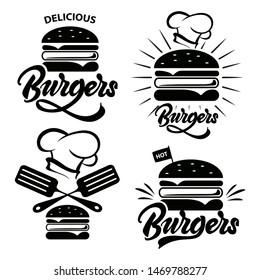 Burger logo set with lettering. Emblem, icon, label for restaurant or cafe design. Burger lettering illustration.