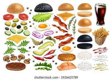 Burger menu. Hand drawn hamburger or sandwich - isolated fast food ingredients. Set of watercolor art style illustrations - bun, cucumbers, eggs, salad, tomatoes and cheese, sause and fries