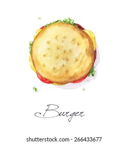 Burger - Watercolor Food Collection