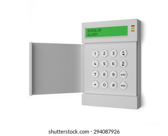 A Burglar Alarm with key pad isolated on a white background - 3D Illustration
