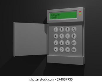 A Burglar Alarm with keypad isolated on a dark background. 3D illustration