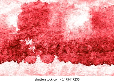 Burgundy Hand Drawn Dirty Art. Blood Drops. Blood Red Watercolor Wallpaper. Blood Stain. Wine Red Rough Tie Dye Design. Blood Smear. Batik Brush Banner. On White Background.