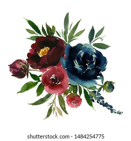 Burgundy Navy Blue Wine Colors Watercolor Floral Arrangements Isolated on White Background