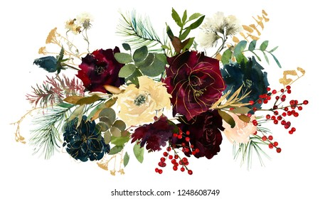 Burgundy White Navy Blue Watercolor Floral Bouquets With Golden Leaves Isolated on White Background
