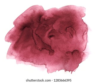 Burgundy wine watercolor hand drawn stain on white paper grain texture. Abstract water color artistic brush paint splash background.
