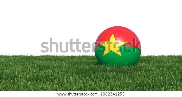 Burkina Faso flag soccer ball lying in grass, isolated on white background. 3D Rendering, Illustration.