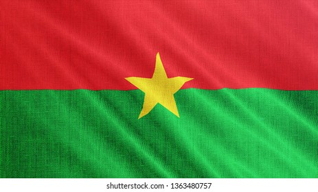 Burkina Faso flag is waving 3D illustration. Symbol of Burkina Fason national on fabric cloth 3D rendering in full perspective.