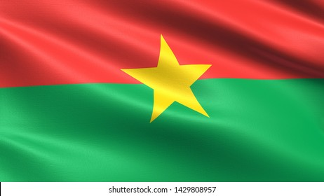 Burkina Faso flag, with waving fabric texture