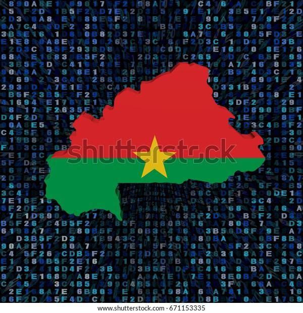 Burkina Faso Map Flag On Hex Stock Illustration 671153335