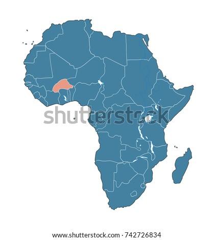 Burkina Faso On African Map Stock Illustration 742726834 Shutterstock