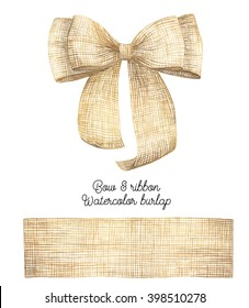 burlap bow and ribbon. Watercolor Hand painted  illustration
